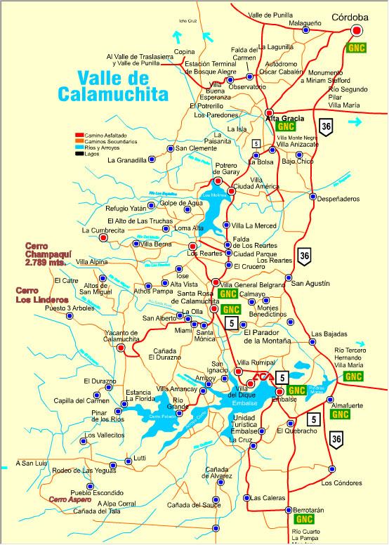 Mapa del Valle de Calamuchita