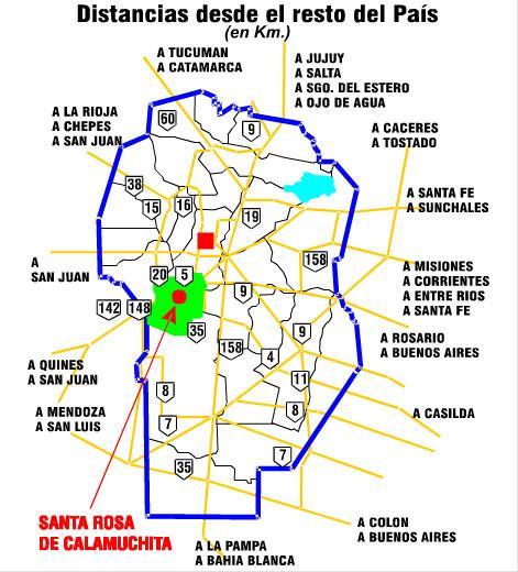 Rutas de acceso a Santa Rosa de Calamuchita